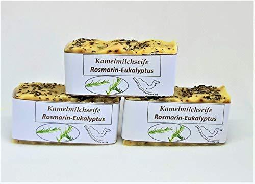 Handgemachte Kamelmilchseife, Naturseife, Rosmarin-Eukalyptus, im Dreierpack