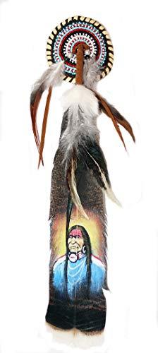 Hejoka-Shop NEU Indianer Haarfeder Feder Clip Haarschmuck Federschmuck Truthahnfeder 35 cm.selten handbemalt Indianer