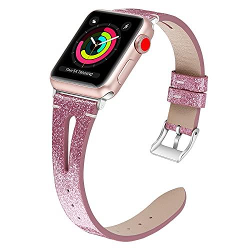 WJMT Correa De Reloj De Repuesto De Cuero Genuino para Apple Iwatch Series 3/2/1 42 Mm Sport/Edition Correa De Pulsera para Hombre con Cierre De Acero Inoxidable,42mm/44mm