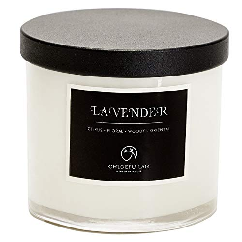 Chloefu LAN Premium Lavender Scented Candle for Men & Women, Highly Scented, 7.1oz 45 Hour Long Lasting, Relaxing Aromatherapy All Natural Soy Candle, Home Decor, White Glass Jar Candle with Gift Box