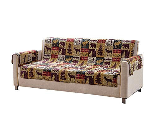 Rustic Cabin Lodge Quilt Stitched Couch Sofa Loveseat Chair Furniture Slipcover Protector With Patchwork of Wildlife Moose Grizzly Bears Deer Buck Antlers and Tribal Patterns - Western 3 (Chair)