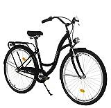 Milord. Komfort Fahrrad mit Gepäckträger, Hollandrad, Damenfahrrad, 3-Gang, Schwarz, 26 Zoll