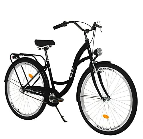 Milord. Komfort Fahrrad mit Gepäckträger, Hollandrad, Damenfahrrad, 3-Gang, Schwarz, 28 Zoll