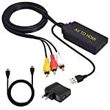 AV to HDMI,RCA to HDMI Converter,Hdiwousp 1080P 3RCA Composite CVBS Video Audio Converter Adapter with HDMI Cable Supporting PAL/NTSC Compatible for PC Laptop Xbox PS4 PS3 TV STB VHS VCR Camera DVD