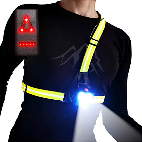 AVANTO Triple Beam Chest Light, Night Running Lights for Runners and Joggers with Adjustable Beam and Reflector, Reflective Running Light Vest Gear Safety Light, USB LED Rechargeable Running Light