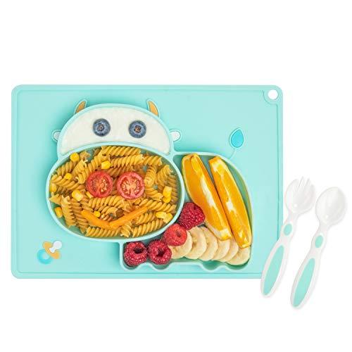 Pandasia Kinderteller - Hochwertiger und rutschfester Baby Teller mit Besteck - Babyteller inkl. Lernbesteck - Frei von BPA und PVC