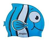 SWIMXWIN Gorro de silicona con aletas para natación o piscina para niños de 3 a 9 años (Kid Fish Azul)