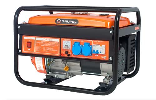 GRUPEL 3100 Watt Benzin Stromerzeuger 6.5PS 4-Takt Benzinmotor, 3100 W, 16A, 2x 230V, 72dB Lwa, 44kg, 15l Tankvolumen, Garage und Camping Generator mit AVR-Funktion, mit Ölsensor, Laufzeit bis zu 12h