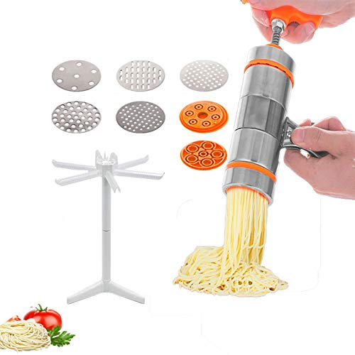 Stainless steel household small manual pasta machine kitchen hand pressure noodle pressing Machine Italy Noodles Press Machine Pasta Maker with 7PCS Noodle Mould and Pasta Rack TEBMYFDK