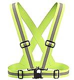 Lovelegis Giubbotto Catarifrangente - Gilet Riflettente - Running - Bretelle - Alta visibilita - Regolabile - Corsa - Ciclismo - Jogging - Colore Giallo Verde Fluorescente