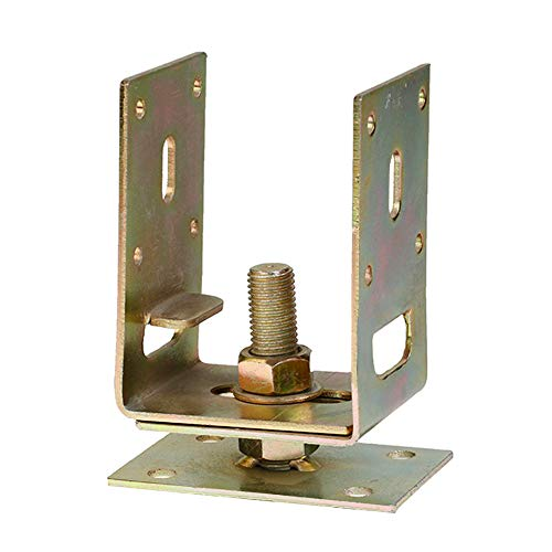 Adjustable Post Base Support for 4x4, 6x6 Post Anchor- Extendable Deck Support Width from 3' to 7' - Elevated Deck Supports - 5 Pack Post Base Brackets