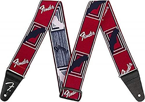 Fender© 'Weighless™' Monogram Tracolla per chitarra e basso - 5cm Larghezza - Rosso/Bianco/Nero