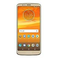 "Moto E5 16GB (5th Generation) 5.7"" 18:9 Max Vision Display, Monster 4000mAh Battery, Dual Sim GSM Unlocked International Model, No Warranty XT1944-4 (Gold) Front Screen Display"