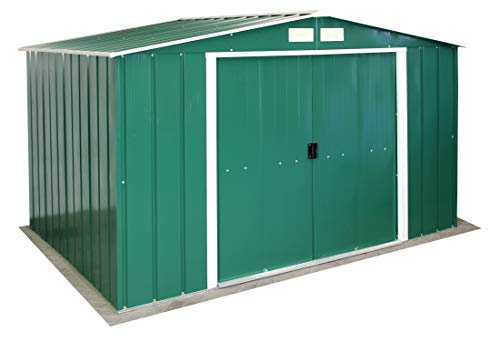 Duramax ECO 10' x 8' Hot-Dipped Galvanized Metal Garden Shed - Green with Off-White Trimmings - 15 Years Warranty