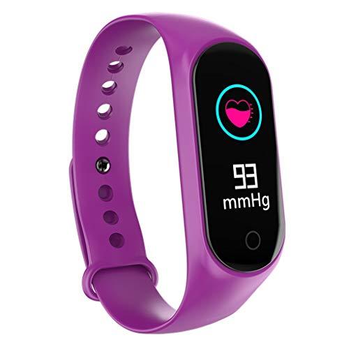 Fine M4 Smart Bracelet, Color Screen Fitness Tracker Blood Pressure Heart Rate Monitor Smart Band Wearable Smart Bracelet Sleep Monitor Step Counter Pedometer Watch for Men Women Kids (Purple)