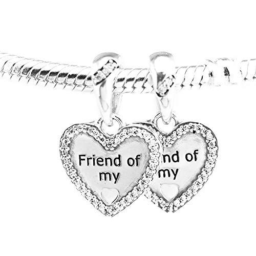 LILANG Pandora 925 Pulsera de joyería Cuentas de Marca Natural para Plata esterlina Corazones de la Amistad encantos de Plata Berloque Perles Mujeres Regalo DIY