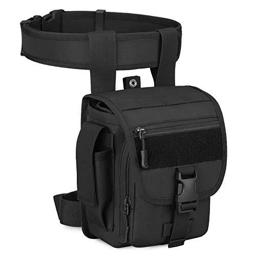 HUNTVP Bolsa de Pierna Bolsa Táctical Militar Impermeable para Correr Senderismo Ciclismo Camping Caza, Tipo 3-Negro