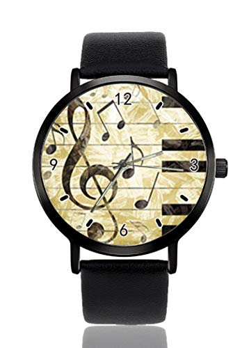 Reloj de pulsera de piano con clave de sol para hombres y mujeres, correa de piel casual, analógico, de cuarzo, unisex, de moda