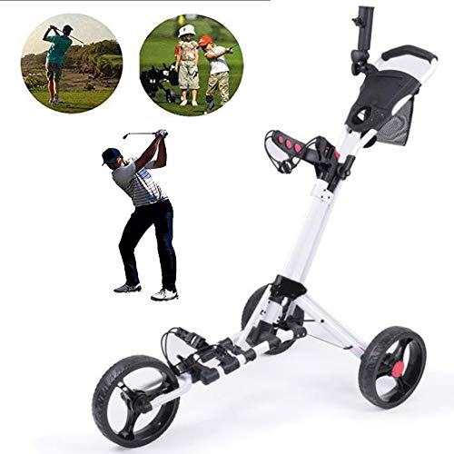 Xytton 3 Ruote Carrello da Golf, Carrello da Golf Pieghevole Manuale, con Portaombrelli, Apertura e Chiusura Facile, per Lo Sport di Viaggio All'aperto