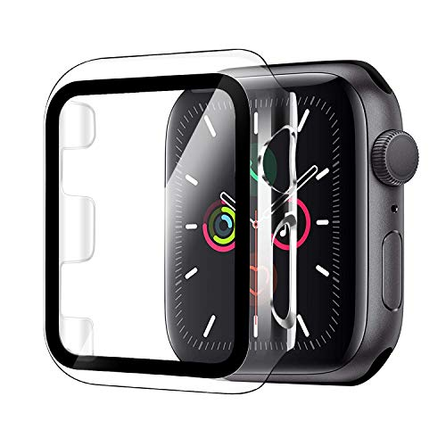 Funda Compatible con Apple Watch 40mm Serie 5/Serie 4+Cristal Templado, Qianyou PC Case y Vidrio Protector Pantalla Integrados, Anti-Rasguños Slim Bumper Case Cover para iWatch 40mm 5/4 (Transparente)