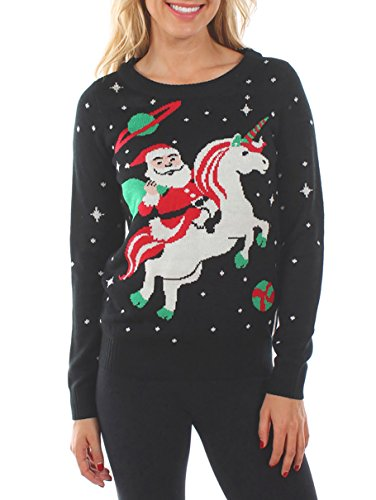 Tipsy Elves Women's Santa Unicorn Christmas Sweater Medium Black