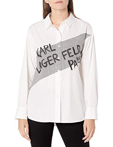 Karl Lagerfeld Paris Damen Karl Striped Blouse Button Down Hemd, Weich, Mittel
