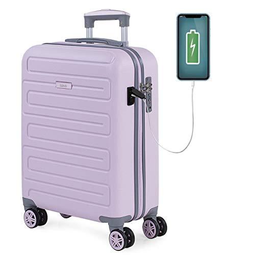 SKPAT - Maleta Cabina Avion Pequeña con Ruedas Rígida [Extensible] Hombre Mujer.[ Conexión para Carga USB]. 4 Ruedas Trolley. Equipaje de Mano. Candado TSA 175050, Color Rosa