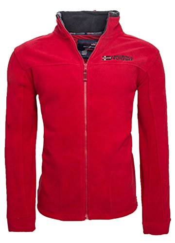 Geographical Norway warme Herren Fleece Winter Übergangs Jacke Outdoor Sweat [GeNo-8-Rot-Gr.XL]
