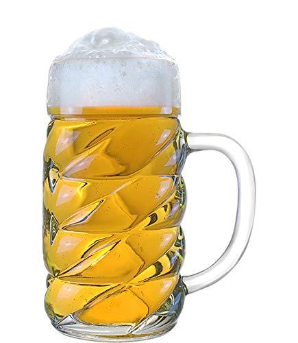 STÖLZLE LAUSITZ Oberglas Diamond Maßkrug 0,5l - origineller Biermaßkrug I Oktoberfest I modernes Design I 6 Stück als Set I spülmaschinenfest I deutsche Qualität