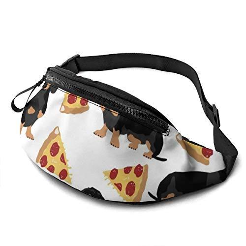 Unisex Gürteltasche Doxie Dackel, Pizza, lustig, niedlich, für Haustiere, Hundefutter, Pizza, Bauchtasche mit verstellbarem Gürtel für Laufen, Sport, Klettern, Reisen