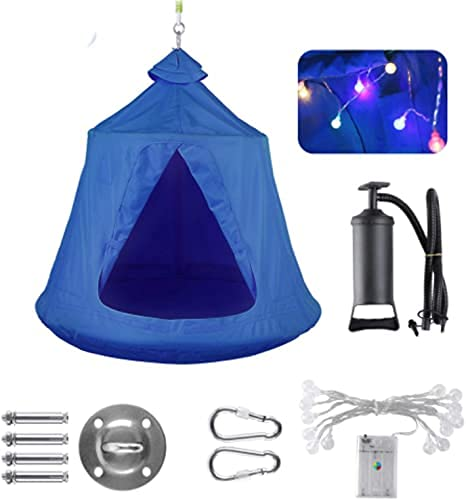 GARTIO Hanging Tree Tent, Waterproof Swing Play House, Portable Hammock Chair, with LED DecorationLights, Inflatable Cushion, Suit for Adult and Kids Indoor Outdoor, Max Capacity 330lbs