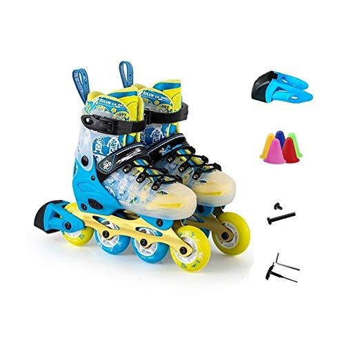 mfw@wewe Adulto Movimiento Fitness Azul Ajustable Patines en línea, Profesión Rendimiento Speed Roller Patines para Boy (Color : C, Size : M (EU32-EU35) 8-12 Years Old)