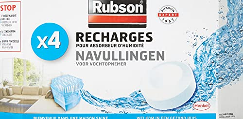 Rubson Recharges Tab Basic, Recharges anti-humidité et anti-odeur neutres pour absorbeurs Basic de Rubson, recharges ultra absorbantes, 4 recharges