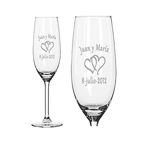 Copas de Cava Personalizadas para Parejas - Regalo de Boda, Aniversario, San Valentín, Bodas de Oro o Bodas de Plata