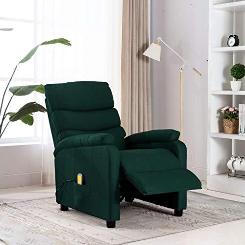 FAMIROSA Poltrona Massaggiante Reclinabile Verde Scuro Tessuto-1232
