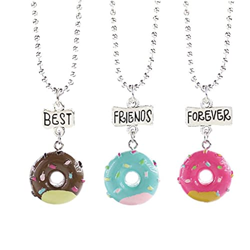 Froiny 3 Pcs/Set Donut Collar Redondo Helado Colgante Choker para Siempre Collares para Hombres Mujeres