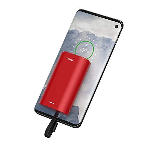 iWALK USB-C Caricabatteria Portatile 9000mAh, Ultra Compatta Powerbank Cavo USB-C Incorporato Compatibile con Samsung Galaxy S10, S10 +, S9, S9 +, S8, Note 9, Nexus, HTC, Huawei, LG e Altro