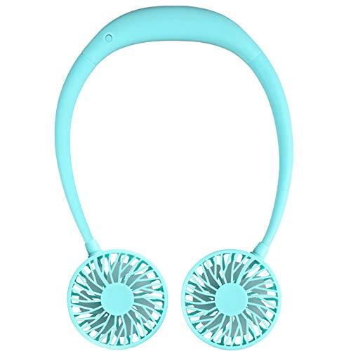 Chutoral Draagbare mini-ventilator, handen, oplaadbaar, draagbare nekbeugel, USB-miniventilator voor de nek blauw