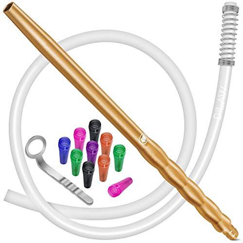 DILAW® Shisha Silikonschlauch Set mit Alu Mundstück inkl. 10 x Hygienemundstücke + Schlauchhalter + Knickschutzfeder- Premium Schlauch 150cm Matt - für alle Wasserpfeifen - Zubehör, Farbe: Gold