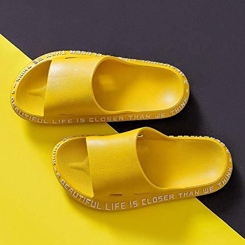 LINGZIA Suela Gruesa Zapatillas de Verano para Mujer, Sandalias de Diapositivas Diapositivas de Playa Chanclas PalabrasConfort de Fondo Suave 7 Amarillo