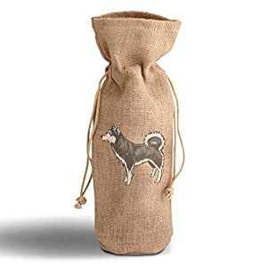 Cotton Custom Wine Gift Bag Alaskan Klee Kai Housewarming & Party Accessories Jute Burlap Drawstring Design Only 37