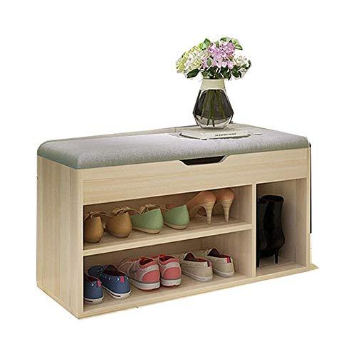 LMCLJJ Taburete de zapato suave Taburete de taburete Estante de almacenamiento con caja de almacenamiento de zapatos con caja de almacenamiento en la entrada del banco Cómodo y con textura (color, tam