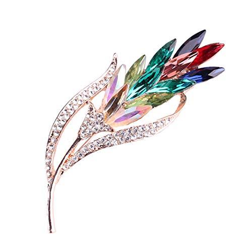 Sperrins Broche Fantaisies Fleur Rose Crystal Bijoux pour Femme Vêtement Broches Accessoires Fleur colorée