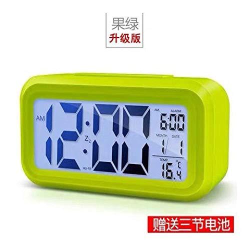 hlyhly Despertador Digital Despertador Digital Reloj Despertador Electrónico Mudo Luminoso Luminoso de Doble Cara Despertador Digital Inteligente-Fruta Verde 4 Generaciones 1 Alarma