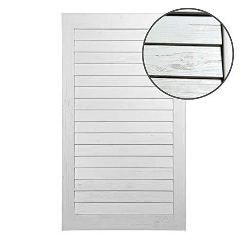 Lamellentür geschlossen 696 x 395 x 16 mm aus MDF Holz foliert in Vintage Weiß mit Maserung - einbaufertig & massiv
