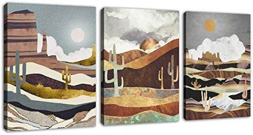 Abstract Wall Art Nordic Style Canvas Pictures Mountain Desert Night Moon Cactus Contemporary product image