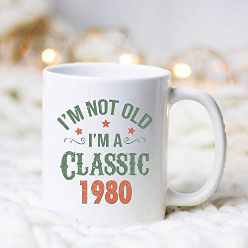 N\A Cumpleaños Personalizado clásico de 1980 / Taza/Taza de cumpleaños/Regalo de cumpleaños/Taza Vintage/Taza clásica / 39.o cumpleaños/Taza clásica de 1980/1980 Taza de café