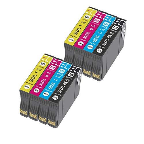 OGOUGUAN 502 XL Reemplazo para 502XL Cartuchos de Tinta Compatiable con Expression Home XP-5100 XP5100 XP-5105 XP5105, Workforce WF-2860DWF WF-2865DWF WF-2860 WF-2865 (8 Paquete)