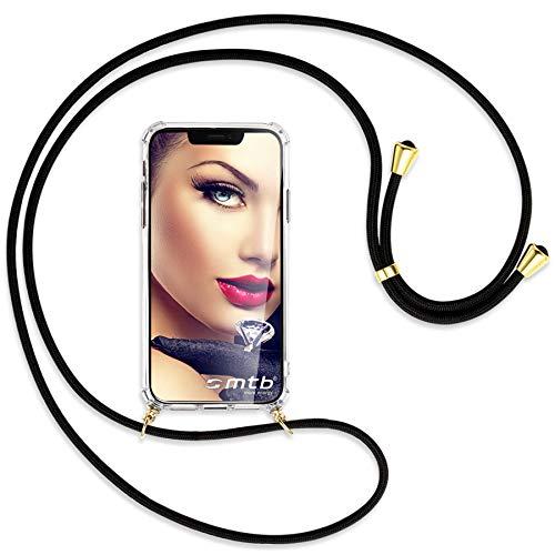mtb more energy® Handykette 2.0 kompatibel mit Asus Zenfone Max M2 (ZB633KL, 6.26'') - schwarz/Gold - Smartphone Hülle zum Umhängen - Anti Shock Strong TPU Case