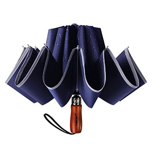 Lejorain Large Reverse Umbrella -50 Inch Windproof Inverted Umbrella -...